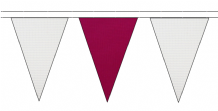 WHITE AND CLARET TRIANGULAR BUNTING - 10m / 20m / 50m LENGTHS
